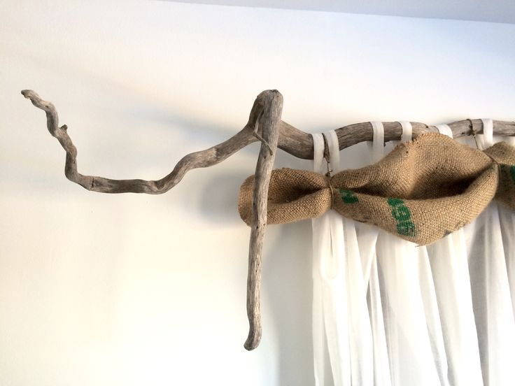 Upcycled Driftwood - office curtain rod