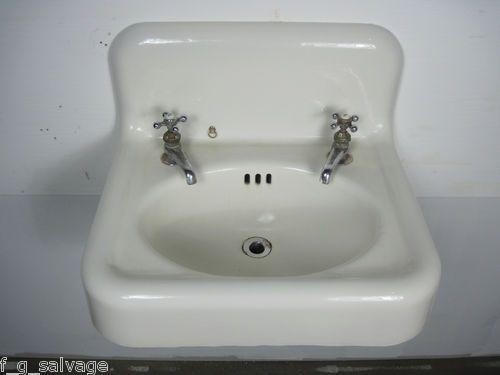 1923 'Standard' enamel-over-cast iron highback sink. Model name is