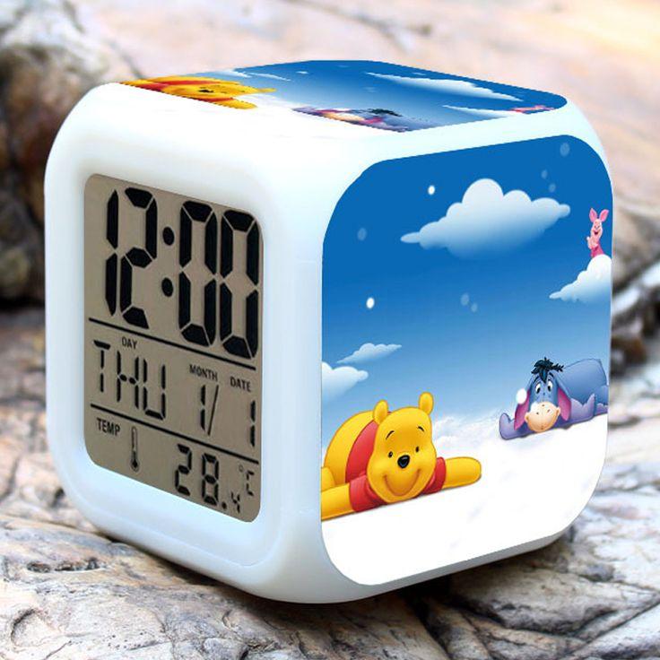 Super Cute Winnie the Pooh Digital Alarm Clock,LED Color Change Multi-function alarm clock For Kid birthday gift toy Alarm Clock
