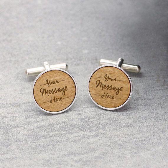 PERSONNALISÉ en bois véritable argent Sterling plaqué de boutons de manchette   Fête des pères   fait main en Angleterre   Boîte cadeau gratuit + P & P   Acajou, chêne ou noyer