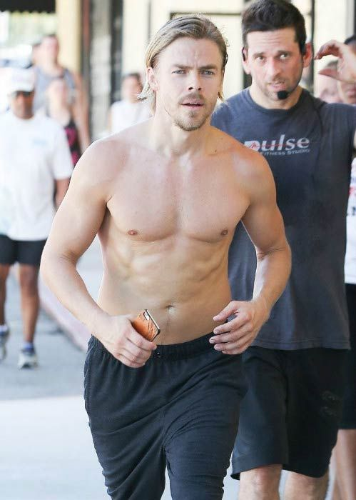 Derek Hough shirtless at the Pulse studio in Los Angeles in July 2016...