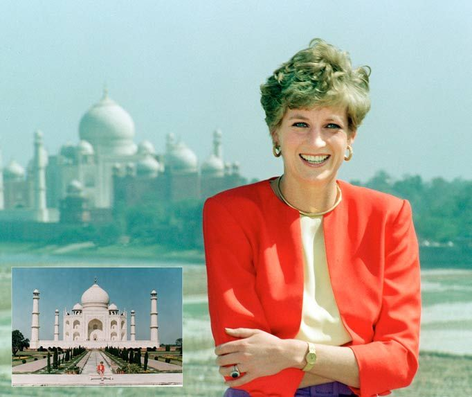 "Arthur Edwards Royal photos - Here is Princess Diana at the Red Fort in Agra, India on February 11 1992.  As Arthur explains: ""All the other photographers went straight to the Taj Mahal thinking it would be the best shot of the day.  ""So I got to the Red Fort and it was practically just me and Diana. 'Where do you want me, Arthur?' she said."""