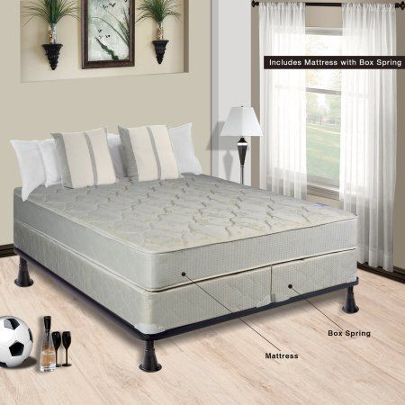 Continental Sleep Mattress, Fully Assembled Mattress and Split Box Spring with Frame, Twin, Beige