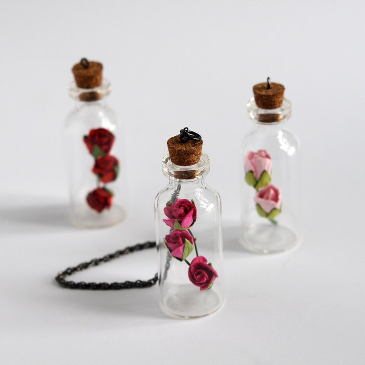 SALE+25+OFF++Three+Tiny+Bottle+Pendant+with+rose+by+Oldism+on+Etsy,+$19.00