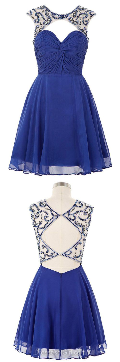 Royal Blue Homecoming Dresses,Open Back Cocktail Gowns,Cheap Prom Dresses,Short Party Dresses,Simple Summer Girls Dress