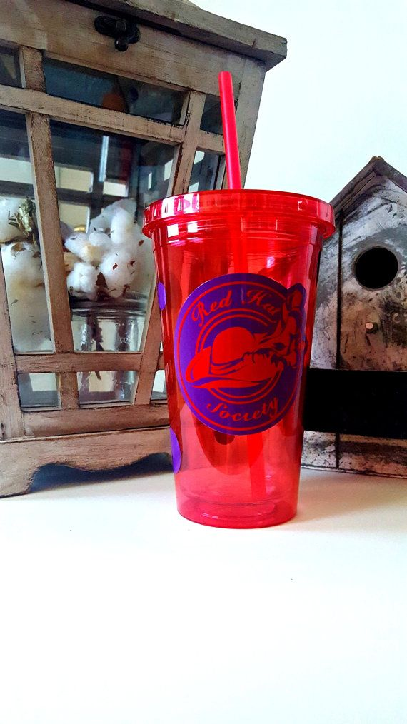 Red Hat Society Tumbler  Cup And Straw  by HuckleberryDesignsCo