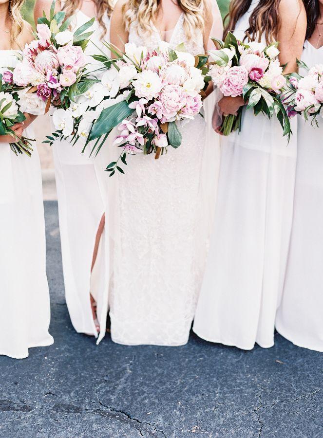 Blush peony + protea bouquets: www.stylemepretty...   Photography: Allison Kuhn Photography - www.allisonkuhnph...
