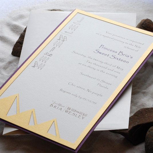 Sweet 16 Invitation With Egyptian Cut