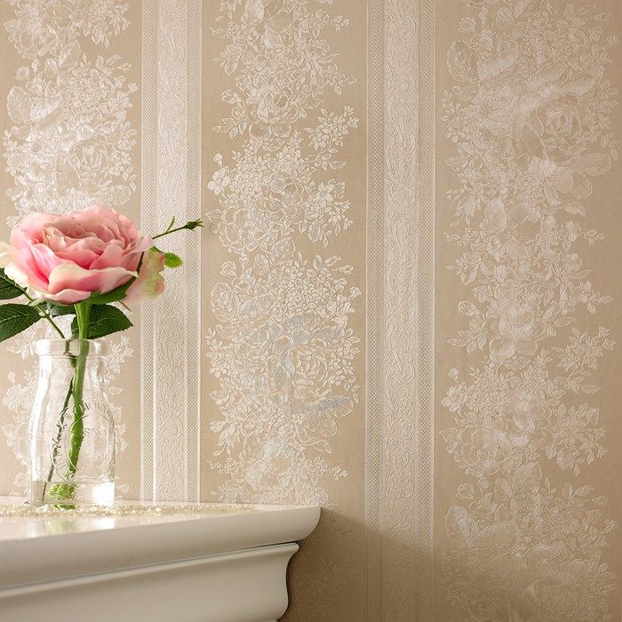 Floral Stripe Golden Wallpaper by Graham and Brown