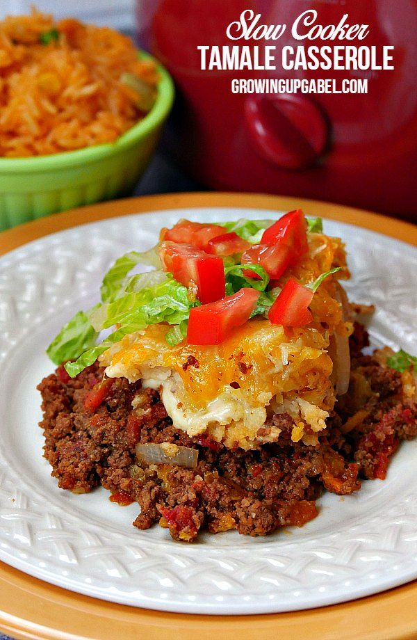 Serve up a Mexican fiesta with this easy tamale casserole recipe made in a CrockPot slow cooker.  Prepared cheese tamales are layered in with homemade or canned beef chili cone carne, onions, corn chips and cheese. An easy dinner recipe that's ready when you are!