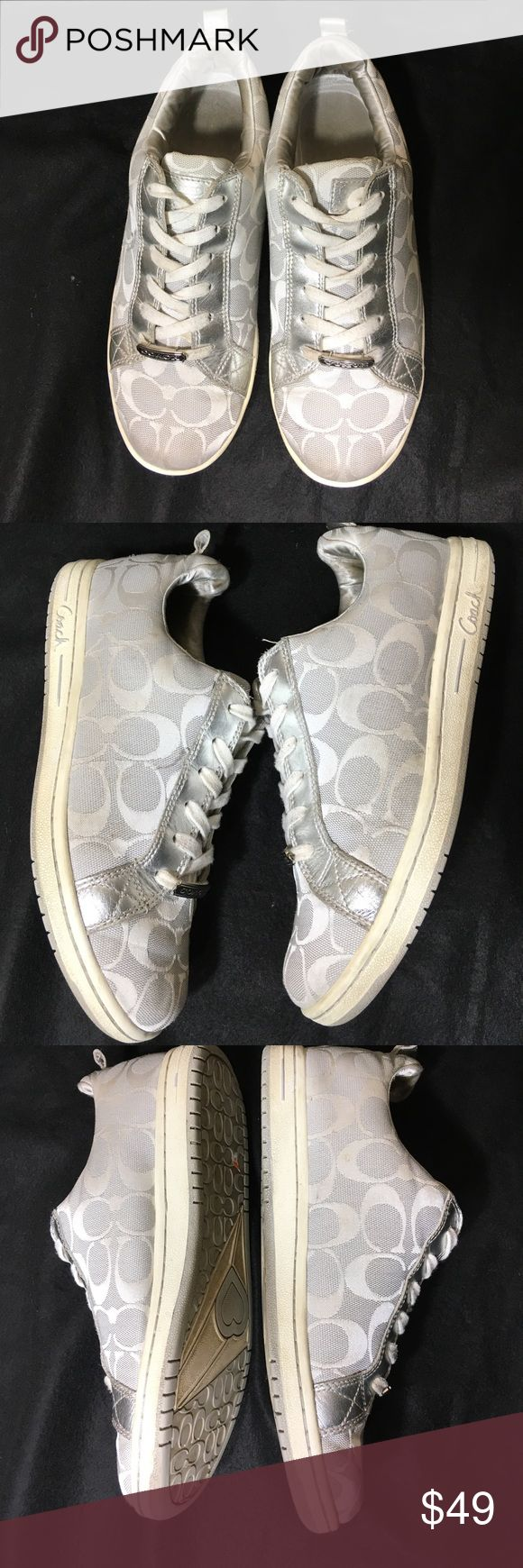 Coach Sneakers Metallic silver coach sneakers are in excellent condition. Only worn a few times. Bottoms will be clean before shipping. Silver and white monogram. Coach Shoes Sneakers
