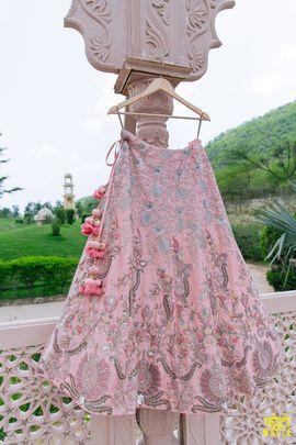 Light Lehengas - Powder Pink Lehenga with Silver and Aqua Embroidery and Pink Latkans | WedMegood #wedmegood #lehenga #embroidery #aqua #silver #bridal #indianbride #indianwedding