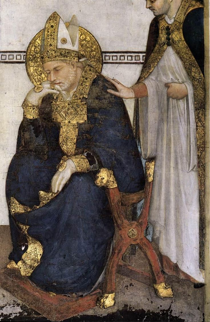 Simone Martini (1285 -1344) - Saint Martin in Meditation, detail - 1312. Fresco, 390 x 200 cm. Cappella di San Martino, Lower Church, San Francesco, Assisi.
