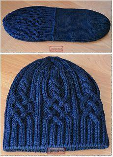 Красивый перегибсгиб на шапке вязаной спицами.