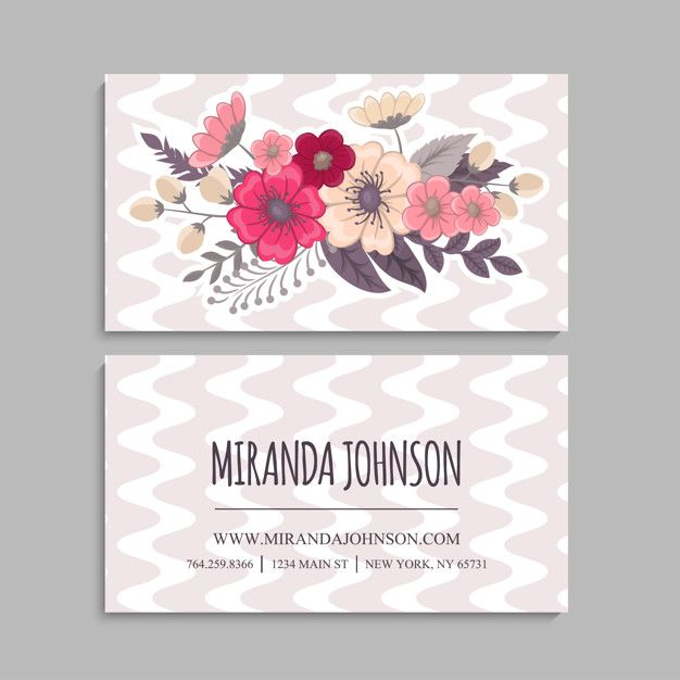 Business Card With Beautiful Flowers Template Business Card Design Card Design Flower Doodles