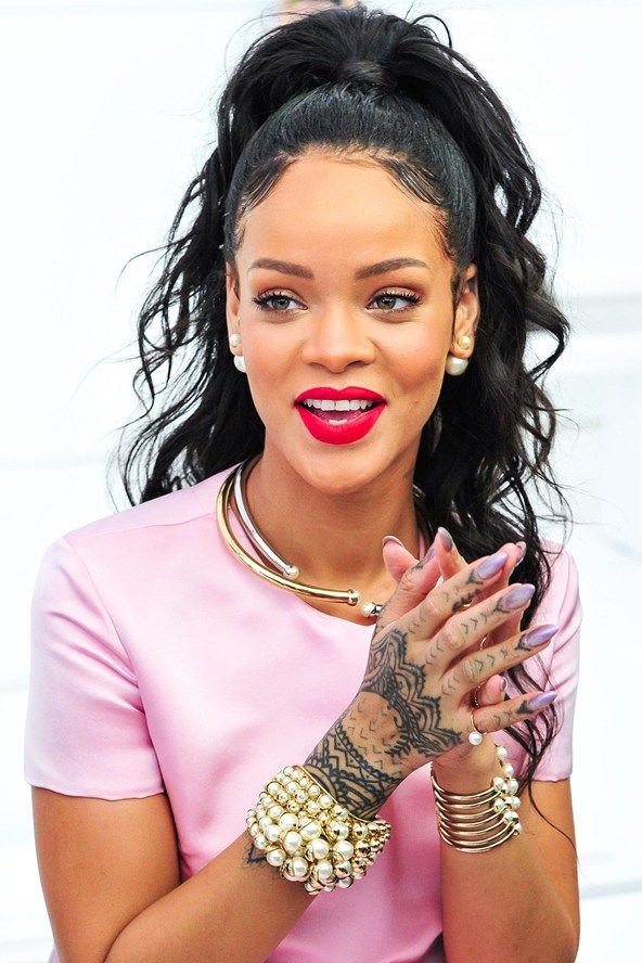 Rihanna Matte Lipstick and Ponytail Hairstyles SS15 | Hairstyles 2015 / 2016, Hair Colors and Haircuts