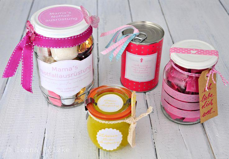 Vier Geschenkideen zum Muttertag, verpackt im Glas oder in der Dose