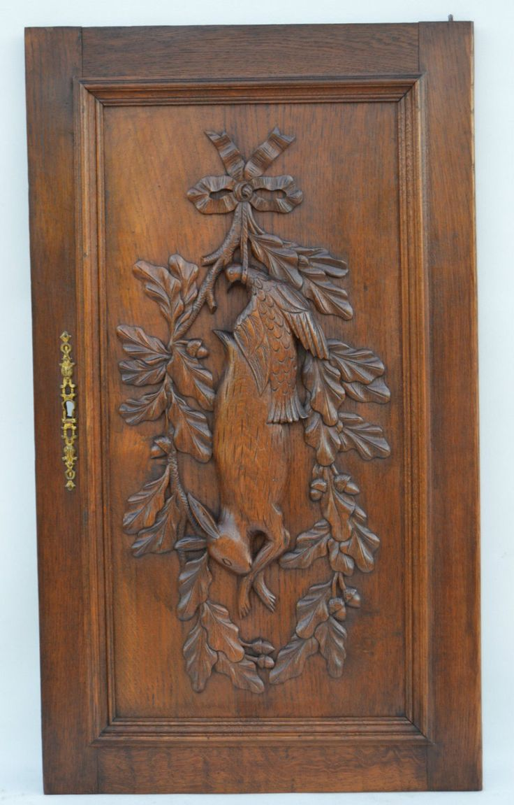 French Antique Carved Oak Wood Door - Hunting Trophy Panel - Still Life Rabbit Bird Carving - Wood salvage Door by Charmantiques on Etsy https://www.etsy.com/listing/266509615/french-antique-carved-oak-wood-door