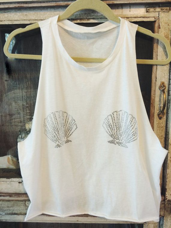 MERMAIDS…they're real.   PRE-ORDER white muscle tank seashell swarovski seashell shirt….