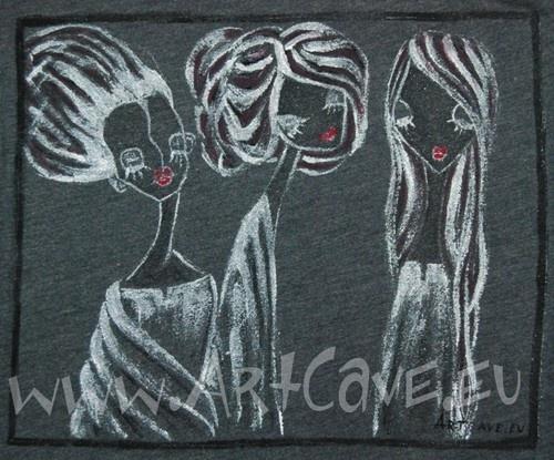 Koszulka Damska z ręcznie malowanym motywem - długi rękaw,  rozm 40