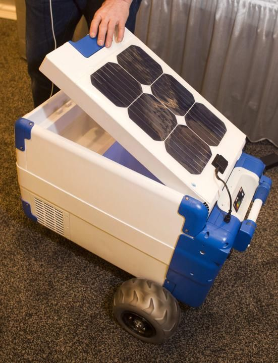 A Solar-Cooler, the world's first portable, solar-powered refrigerated cooler, is displayed during the 2014 International Consumer Electronics Show (CES) in Las Vegas