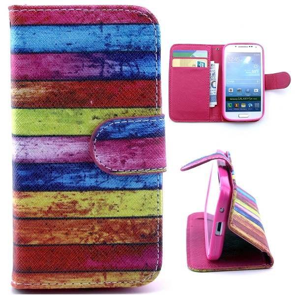 Kleurrijke planken booktype voor Samsung Galaxy S4 mini