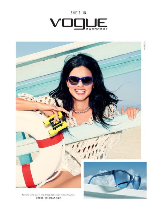 Adriana Lima is all smiles in Vogue Eyewear spring summer 2016 campaign