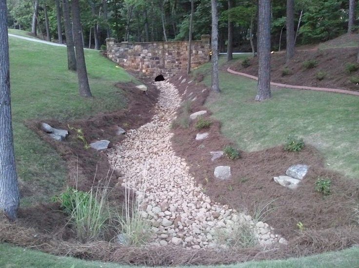 97 best dry creek bed french drain images on pinterest for Outdoor drainage solutions