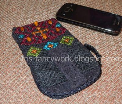 My Fancywork Blog: Сумочка-чехол для двух мобильных телефонов с вышив...