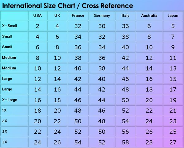 Clothing Size Conversion Chart Fashion Dresses