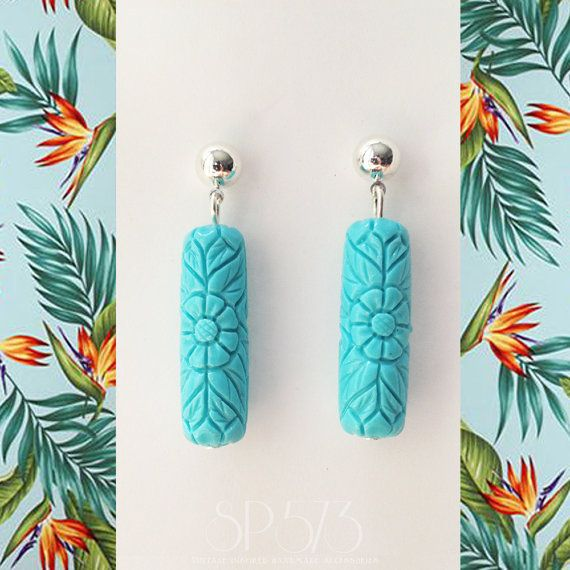 Light Blue Earrings Craved flower Earrings Repro Retro by sp573