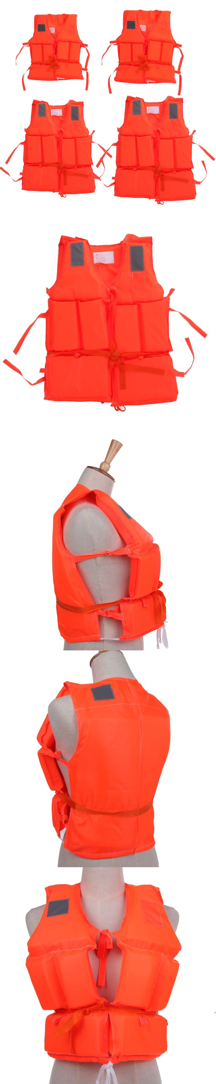 Kids To Adult Plus Size Red Life Vest With Survival Whistle Water Sports Foam Life Jacket For Drifting Boating Swim Ski Surfing
