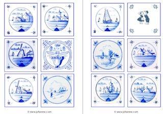 Memory met Delfts blauw tegels, ook op de site van juf Sanne leuke molentjes om te kleuren.