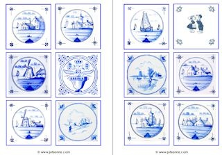 Memory met Delfts blauw tegels - Juf Sanne