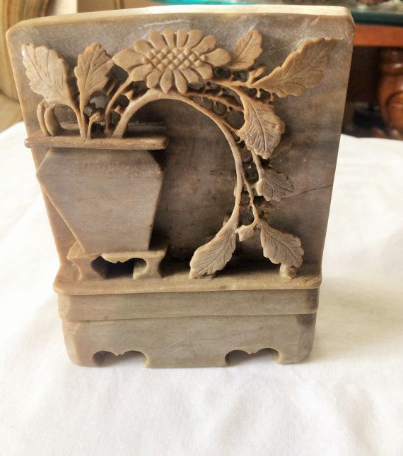 Asian Soapstone Bookend / Paperweight Carved by GoodOldDaysShop