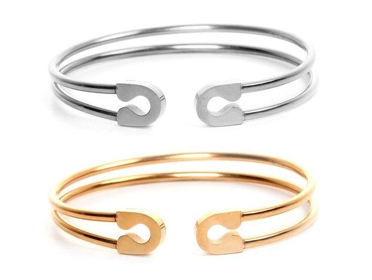 Stainless Steel Safety Pin Open Cuff Bangle Bracelet -  Bracelet épingle de sureté en acier inoxydable