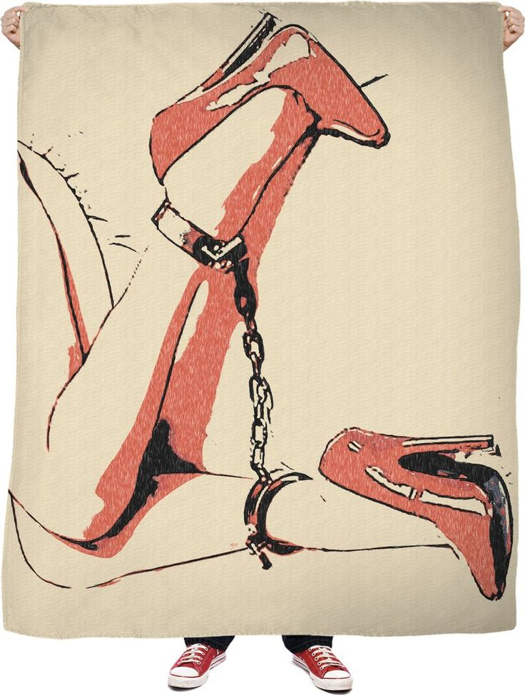 Bad girls know what to wear, heels and chains, erotic slave blanket also available at casemiroarts.com