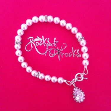 Esther wedding bracelet made from Swarovski pearls and diamanté rondelles, finished with a sterling silver toggle and crystal teardrop