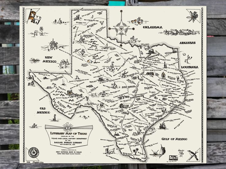 Literary map of texas 1955 historic texas map wooden