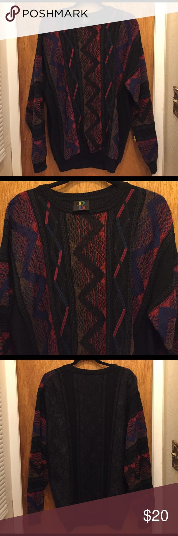 Vintage grandpa sweater Vintage oversized sweater with pink, blue, black, and brown design. Worn a few times, it's just too big for me. I recommend tucking it into light wash, high waisted jeans, with low bootie heels. It can just as easily be worn around the house with sweatpants though! Baffo Sweaters Crew & Scoop Necks
