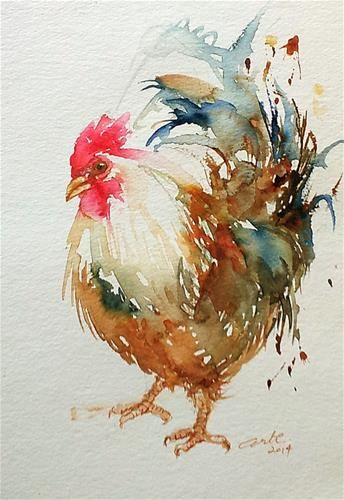 """White Rooster"" original fine art by Arti Chauhan"