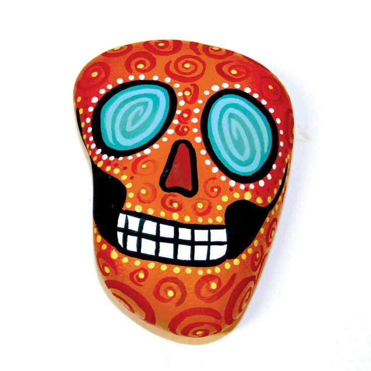 Ojos Locos- Orange Dia De Los Muertos Skull Paperweight