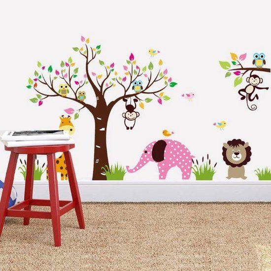 ... XL Olifant Aap Giraffe Leeuw Uil - Voor Kinderkamer / Babykamer V2
