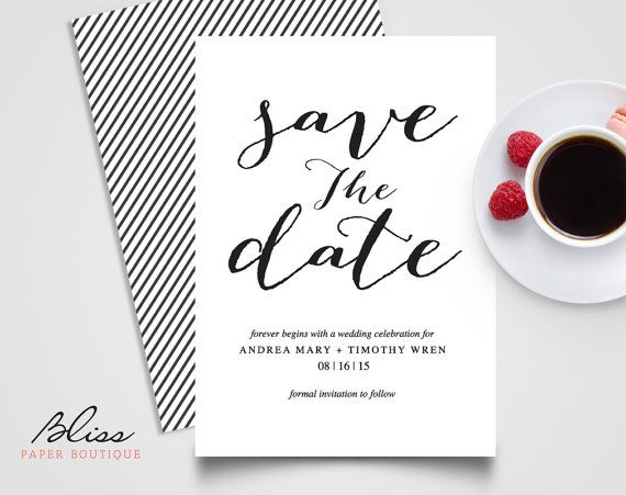 Black and White Custom Printable Save The Date / Save-The-Date Wedding Invitation Card Template #BPB03