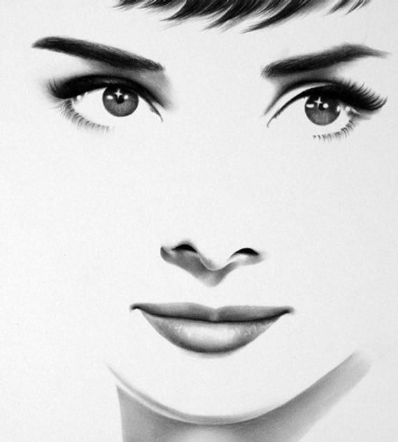 Audrey Hepburn Pencil Drawing Portrait Classic Hollywood