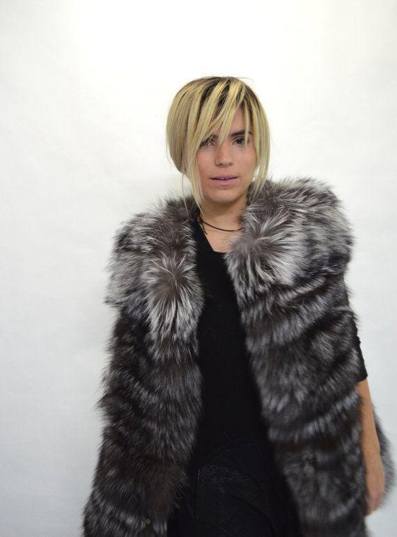Real fur vest silver fox fur vest black fur vest genuine by BeFur