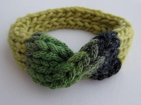 Hand Knitted Headband. Pure Wool. Lemon Lime Green Blue by OkBee, €22.00