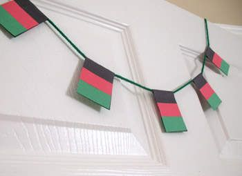 Kwanzaa Flag Garland Craft: Kwanzaa Crafts for Kids & Decorations - Kaboose.com