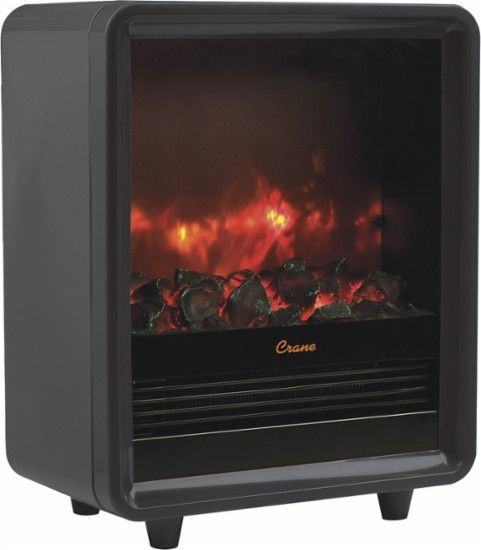 Crane - Fireplace Space Heater - Black - Front Zoom