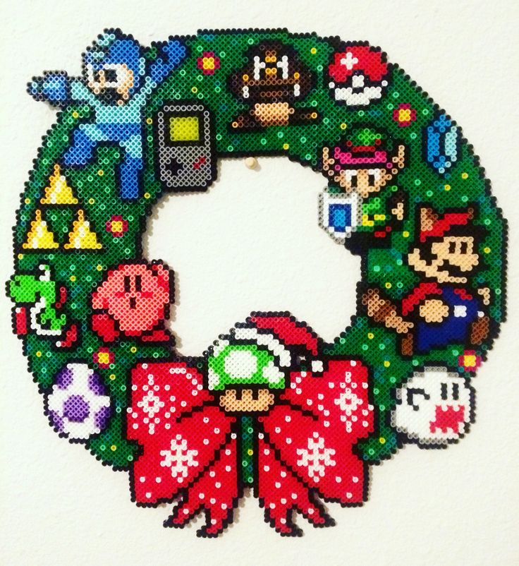 (*** http://BubbleCraze.org - If you like bubble games for Android/iPhone, you'll LOVE this one. ***) 8-bit Nintendo Christmas Wreath made by Meg Murphy with Perler beads